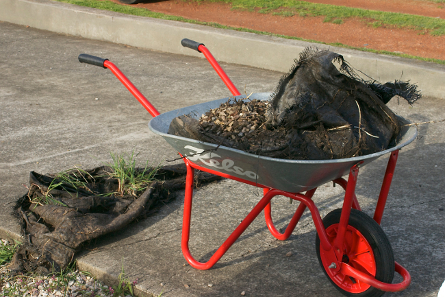 wheelbarrow gravel