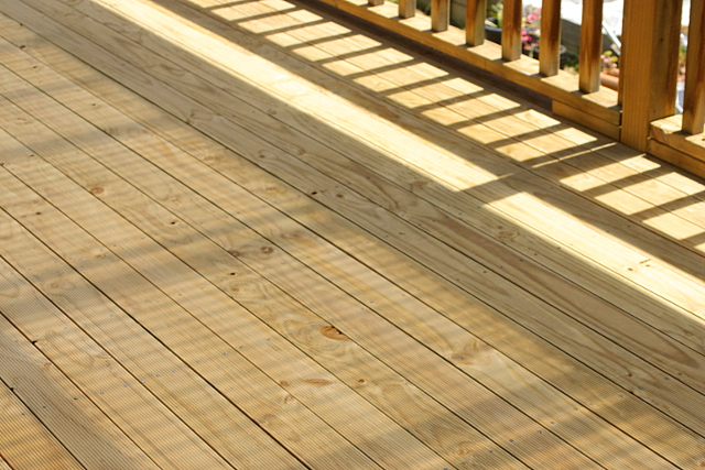cleaned pine deck