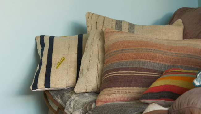 kilim cushions stacked