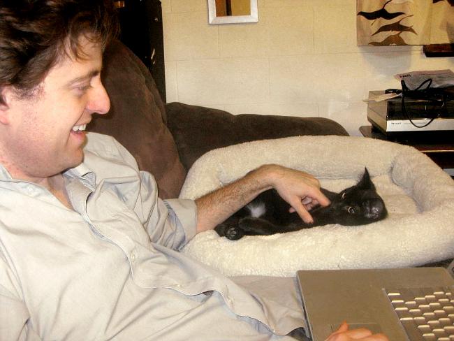 jamie pets cat