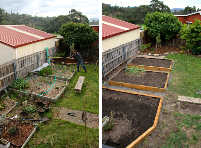 old and new garden beds