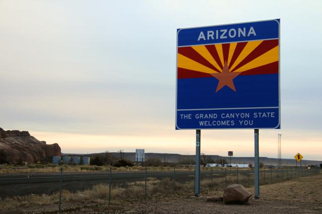 Arizona state border sign