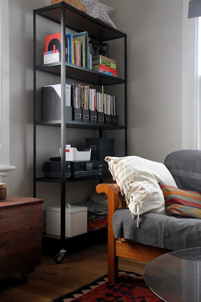 Steel shelving unit in the study