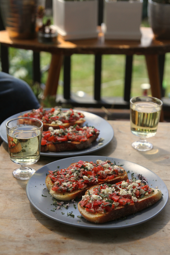 Bruschetta on the deck
