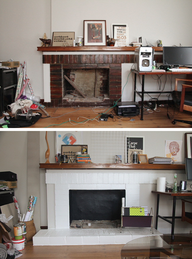 Brick fireplace, before and after