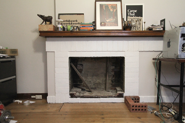Brick fireplace, painted