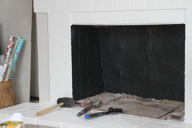 Painted fireplace inner